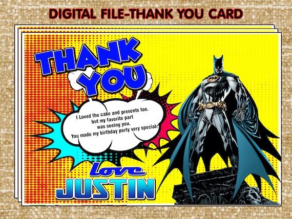 Batman Thank You Card Party DIY Superhero Birthday
