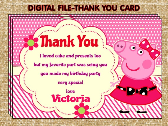 Peppa Pig Thank You Card Peppa Pig Party Diy Peppa Pig Etsy