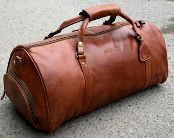 d0e4629a74 Leather Gym Bag With Shoe Compartment