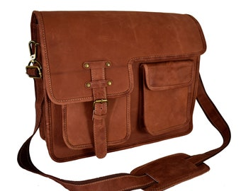 9b27aa7c56 Adwaita Handmade Custom made Personalised Classic Vintage Top Grain genuine  Leather Messenger bag for Girl and women Gift for her College