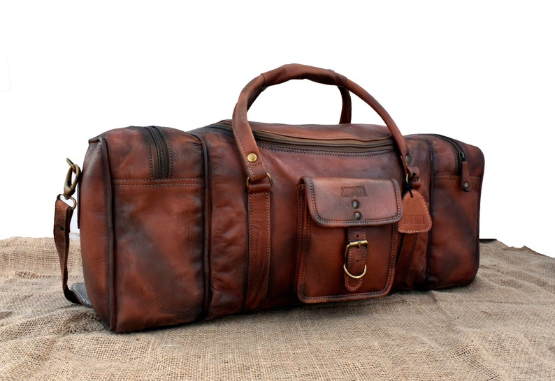 c0c85e5b2441 Men's Leather Duffle, Full Grain Leather, Rustic Vintage Distress Look-28