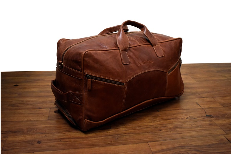 07a572f91b Large Leather Duffle Bag Shoe Compartment-Full Grain Soft