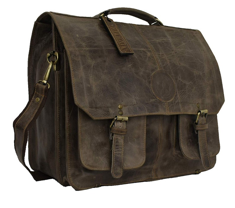 bdbfd99568fc Handmade Vintage 16 inch Full grain Cow leather messenger