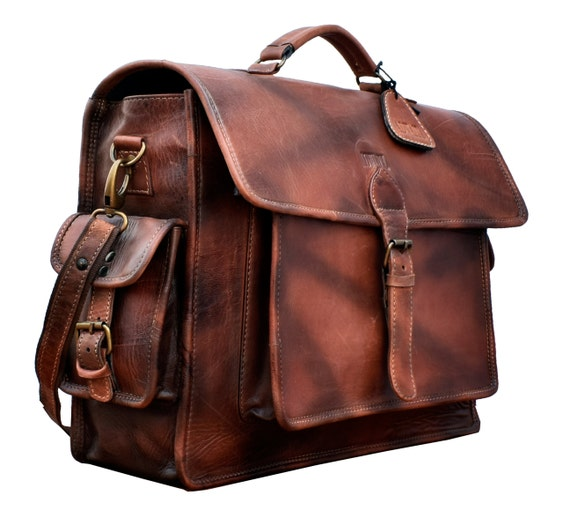 Leather Vintage Brown Messenger Bag Shoulder Laptop Bag Briefcase Made in india