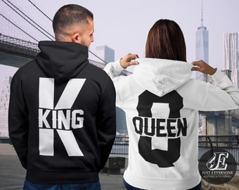 4a7a4b2857 King Queen, King Queen Hoodies, Set of King & Queen, Pärchen Pullover,  Couple Sweatshirts, King Queen Sweaters, Valentines Shirts, Best Gift