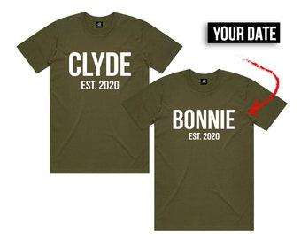 Green Turtle T-Shirts Couple Duo de Choc Bonnie /& Clyde
