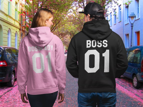 The Boss The Real Boss LOVE VALENTINE/'S Together Since COUPLE HOOD-S-3XL