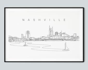 Nashville Tennessee Skyline Painting  Fine Art Giclee Print  Nash Bash  Nashville Wall Art  Nashville Home Decor  Nashville Gift