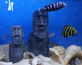 Easter Island heads Moai statue, Resin statue , Fish Tank Craft Aquarium Accessory Decor ,Easter Island Ancient Statue
