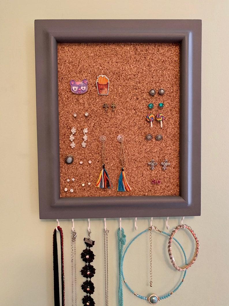 Bracelet Holder Cork Stud Earring Holder Jewelry Organizer With Shelf Necklace Holder