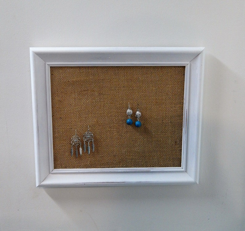 Earring Holder Wall Earring Organizer Wall Rustic Jewelry Organizer Wall Burlap Gift for her Earring display White Jewelry Holder Wood Decor