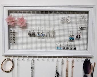 White Rustic Earring Holder Wood Earring Organizer Frame Jewelry Organizer Wall Jewelry Holder Jewelry Display Storage Gift her earrings