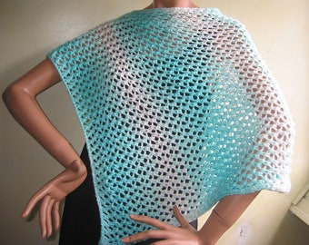 Knitted Cotton Cape Poncho Cloth for Women-93/% Cotton-in-the-Color Gradient Turquoise-White-Valentine/'s Day-Mother/'s Day-Unity Size-Handcrafted