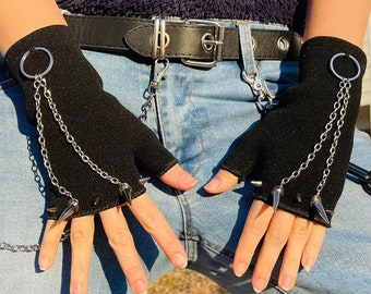 Spikes Gloves, Spike Punk Rock Gloves, Black Gloves, Fingerless Gloves, Wrist Gloves, Short Gloves, O Ring and Chains Gloves, Costume Gloves