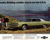1972 Chevrolet Impala Coupe-San Francisco Golden Gate Bridge-Original 2 Page Magazine Ad