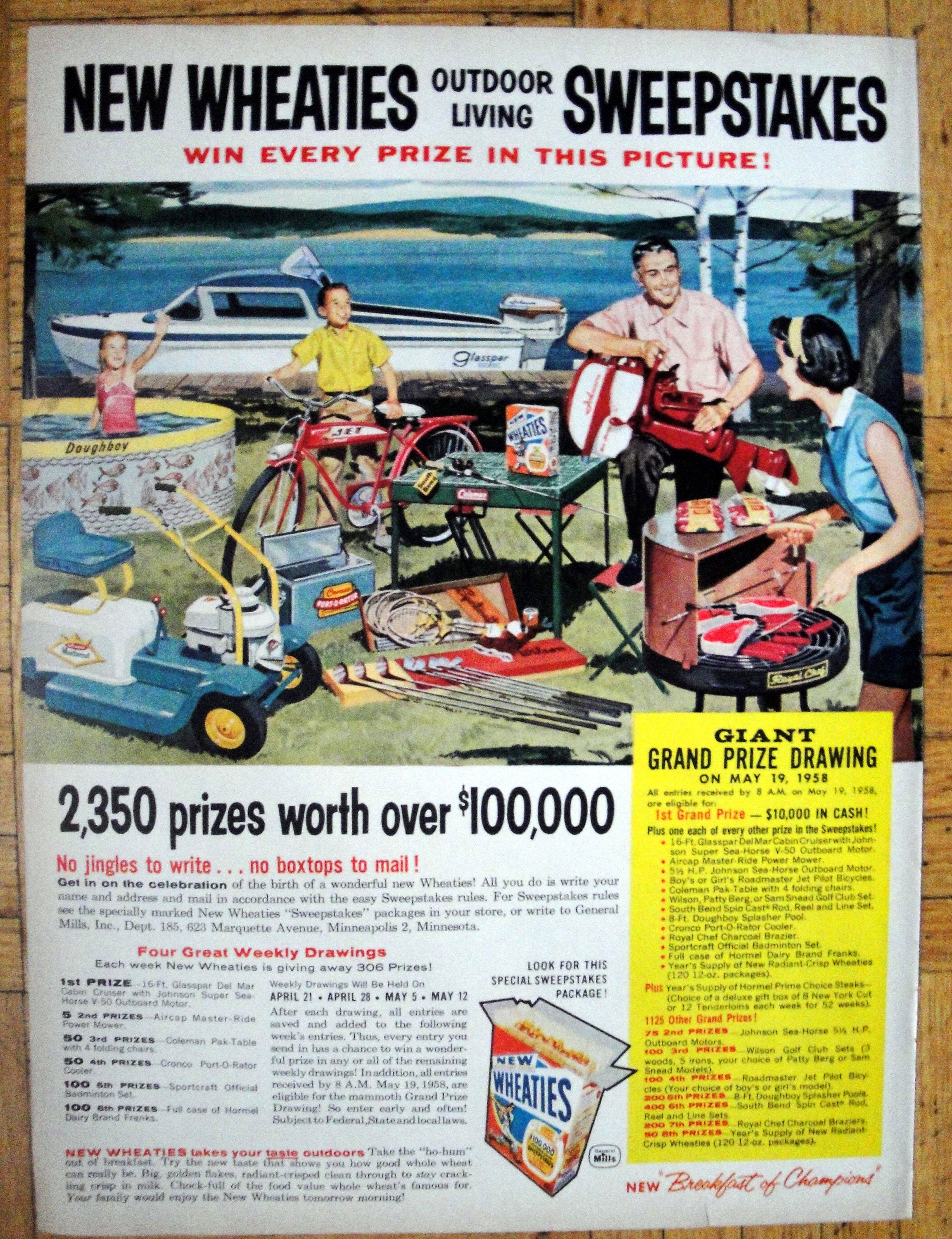 1958 Wheaties Outdoor Living Sweepstakes Contest-Original 13 5 * 10 5  Magazine Ad-Breakfast Cereal