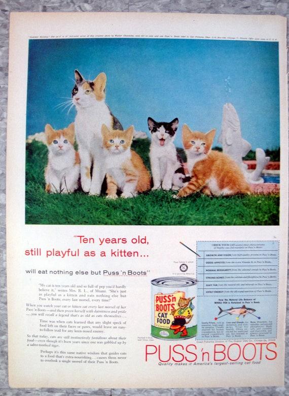 1958 Puss'n Boots Cat Food-10 Year Old Kitten-Original 13 5 * 10 5 Magazine  Ad
