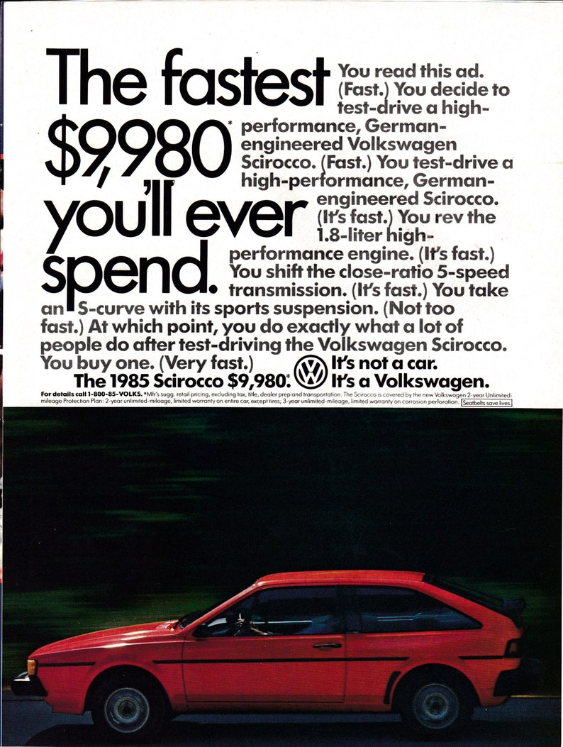 1985 VW Scirocco Red-1 8 Liter Engine Cost 9,980-Volkswagen Original  Magazine Ad
