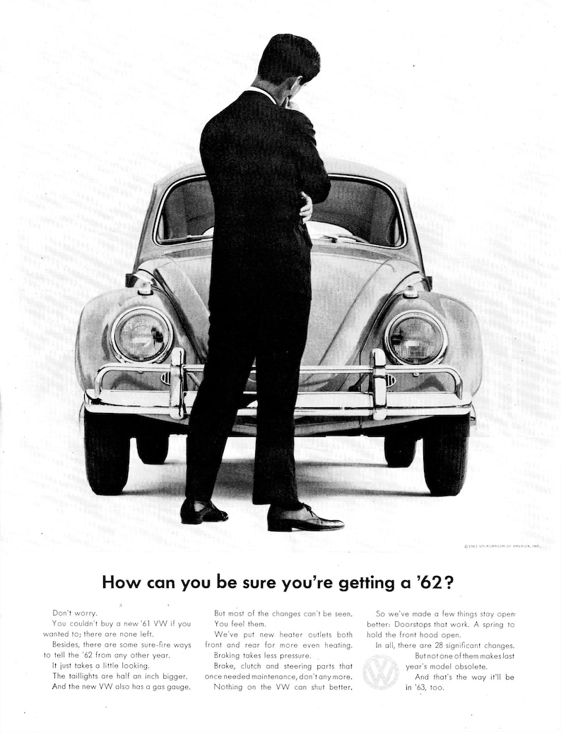 1962 VW Beetle Bug-Know If Your Buying Current Model?-Original 13 5 * 10 5  Magazine Ad
