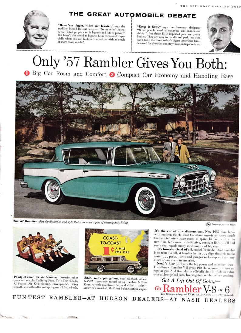 Advertising-print Advertising Original Print Ad 1956 Hudson Dealers Rambler Cross Country 2 Page