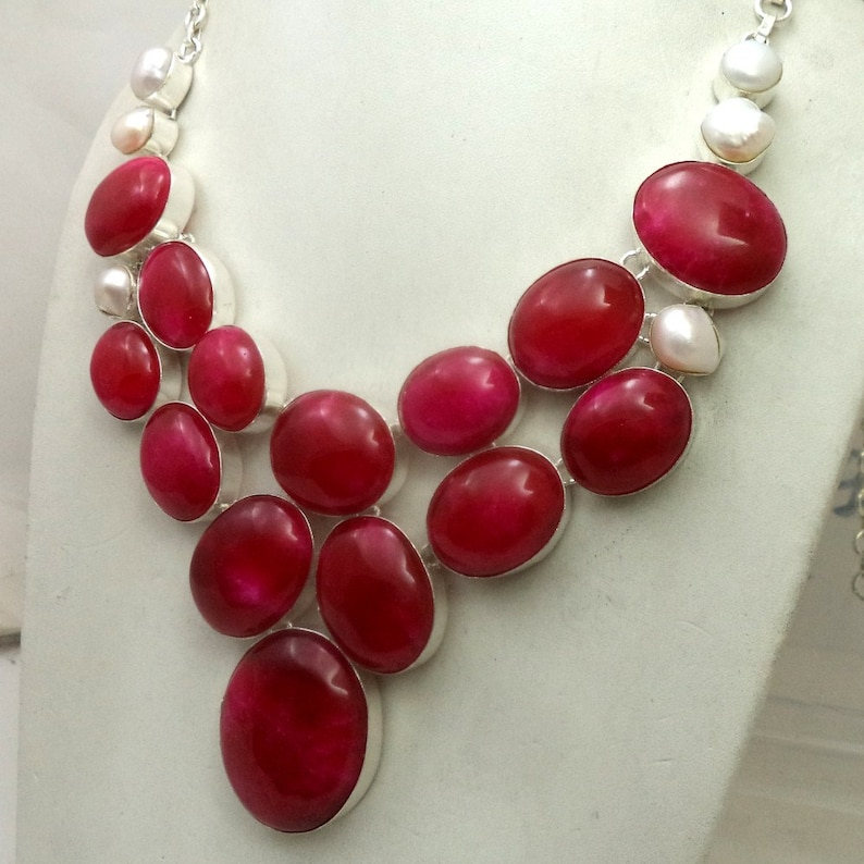 Ruby jewelry charm necklace handmade neckalce gift jewelry silver plated necklace bohemian necklace Ruby Necklace Pearl Necklace