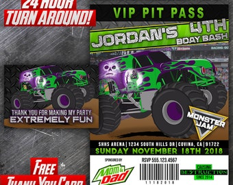 Printable grave digger pit pass 1 birthday invitation etsy printable grave digger birthday invites monster truck invitation pit pass vip monster jam all access pass vip pass filmwisefo