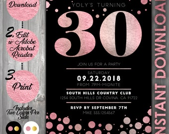 Printable 30th Birthday Invitation Faux Rose Gold Foil 30 And Flirty Dirty Bday Invite Thirty Any Age