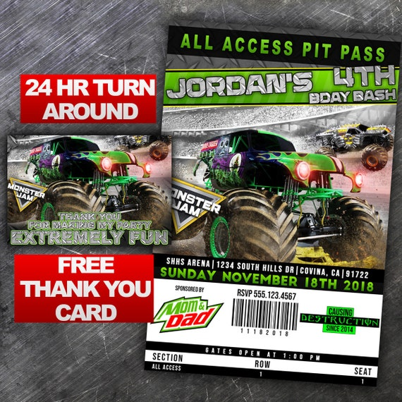 Printable grave digger pit pass 1 birthday invitation etsy image 0 filmwisefo