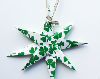 Recycled paper star ornament – Shamrock design with ribbon