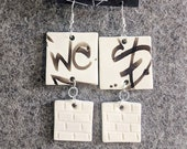Ceramic Earrings Urban Graffiti West Tag Black and White Pottery Clay