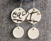 Ceramic Earrings Urban Graffiti East Tag Black and White Pottery Clay