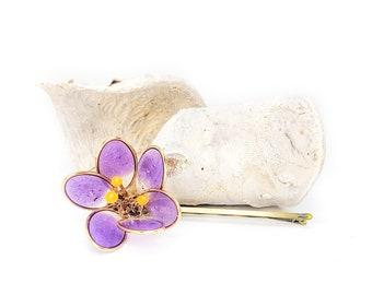 Purple Crocus Blossom Flower   Bobby Pin   Hair Pin   Resin   Statement   Kanzashi