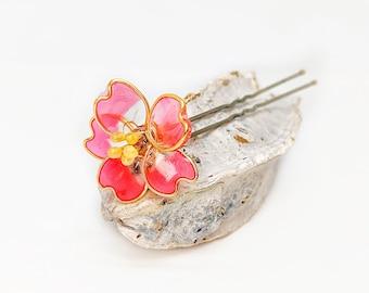 Red Wild Rose Blossom Flower | Bobby Pin | Hair Pin | Resin | Statement | Kanzashi
