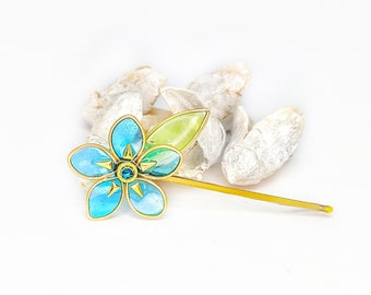 Blue Forget Me Not Blossom Flower | Bobby Pin | Hair Pin | Resin | Statement | Kanzashi