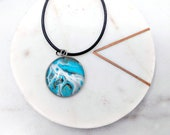 Fluid Art Planet Turquoise and White Glass Cabochon Stainless Steel Necklace Pendant Keychain Zipper Pull
