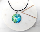 Fluid Art Planet Green and Blue Glass Cabochon Stainless Steel Necklace Pendant Keychain Zipper Pull