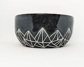 Pottery Bowl Geometric Mountain Black Hand Carved Ceramic