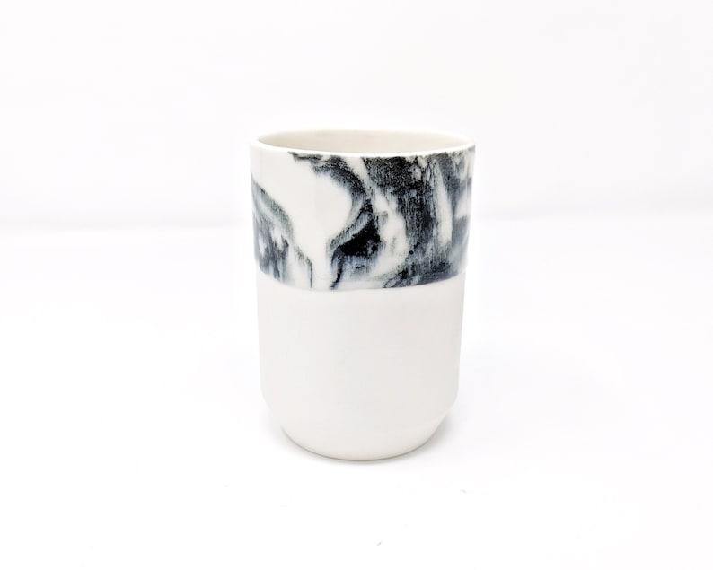 Pottery Tumbler Mug Marble Black and White Minimalist Modern image 0