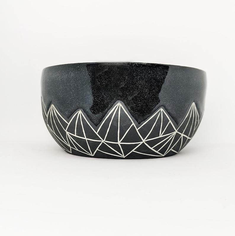 Pottery Bowl Geometric Mountain Black Hand Carved Ceramic image 0