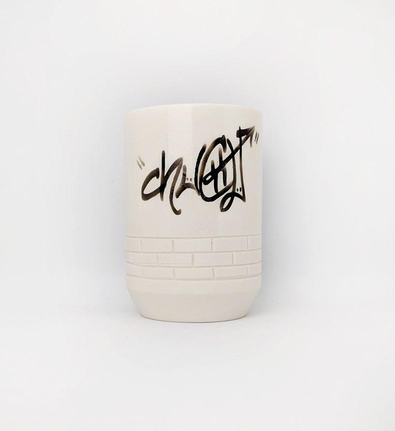 Pottery Tumbler Mug Urban Graffiti ChuChu Tag Brick Black and image 0