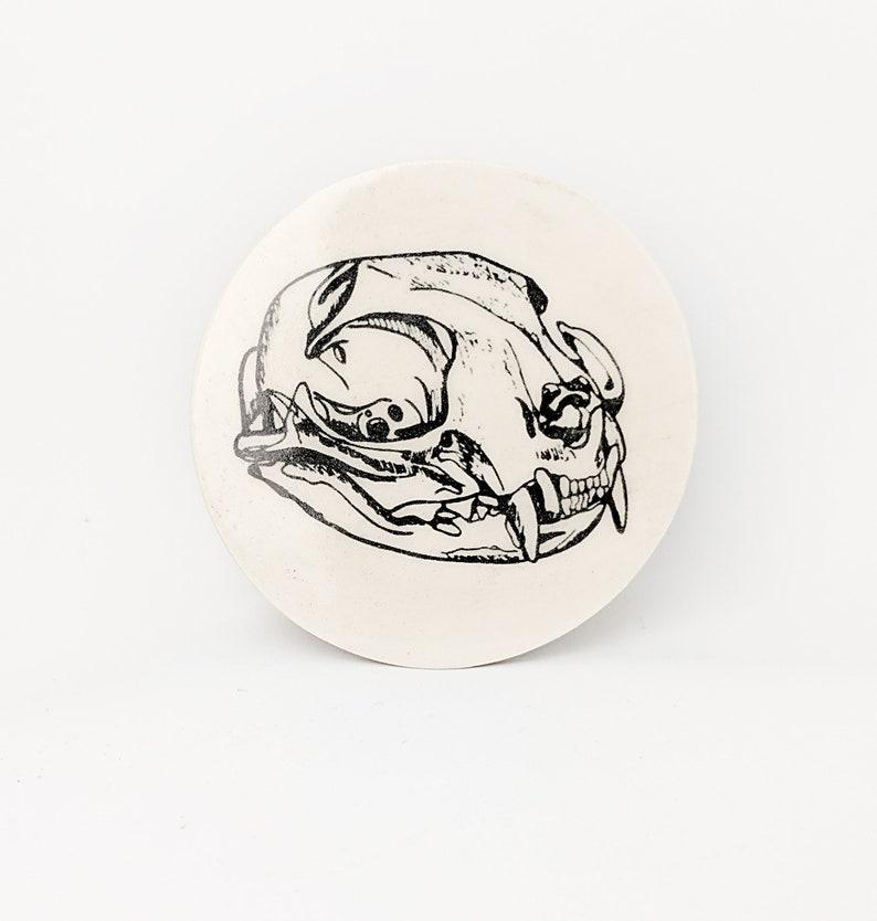 Pottery Coaster Cat Skull Silk Screen Original Illustration image 0