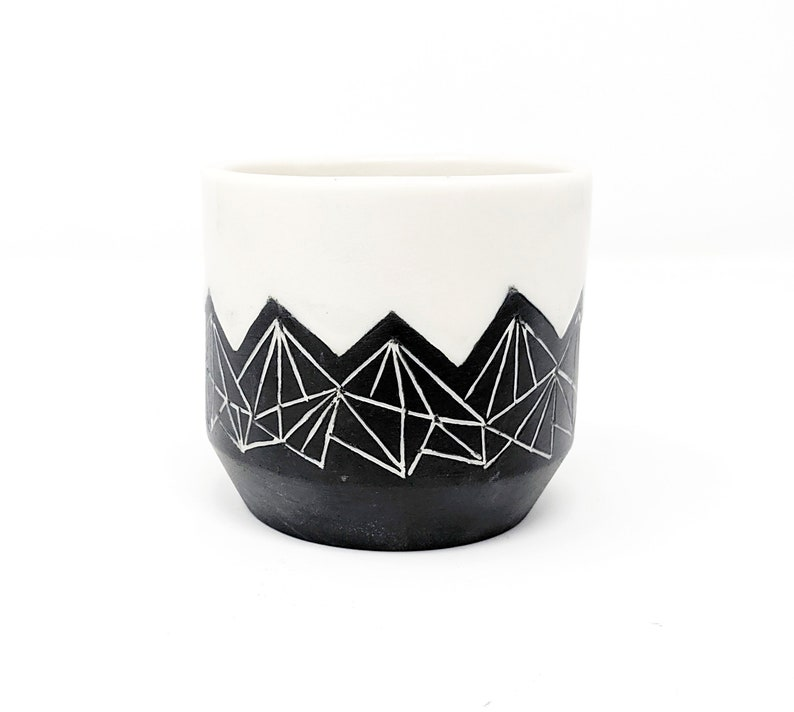 Pottery Cup Tumbler Geometric Mountain Black and White Hand image 0