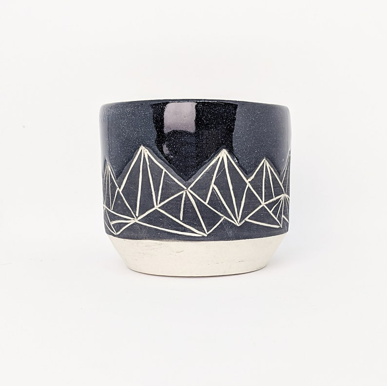Pottery Cup Tumbler Geometric Mountain Black Hand Carved image 0