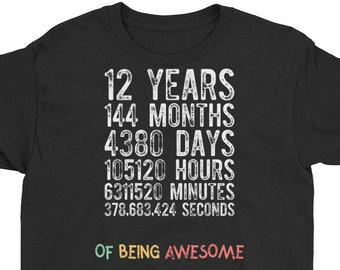 12th Birthday Shirt Countdown Of Being Awesome Twelfth 12 Years Old Girls And Boys T Gift