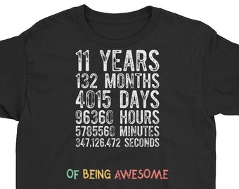 11th Birthday Shirt Countdown Of Being Awesome Eleventh 11 Years Old Girls And Boys T Gift