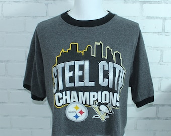 Pittsburgh Steelers and Pittsburgh Penguins - Steel City Vintage Graphic t- shirt (RARE one of a kind) 4c60b966b