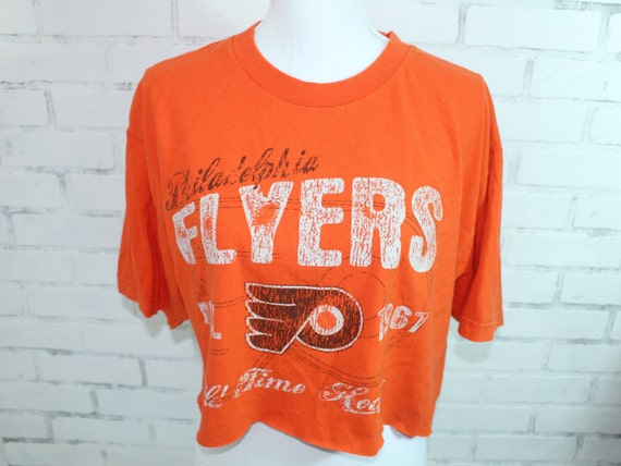 save off 5f050 16d4f Philadelphia Flyers NHL Hockey Vintage Graphic t-shirt cropped (RARE one of  a kind)