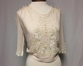 Edwardian 1910-1920 True Vintage Pale Pink Sheer Silk Chiffon Bodice with Embroidery