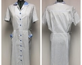 1960 39 s True Vintage Blue and White, Windowpane Button Front Day Dress, XXL
