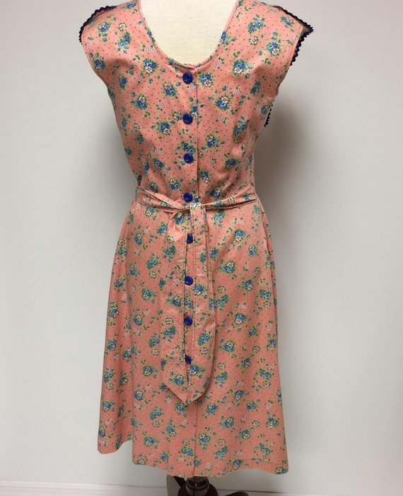 1940's Floral Print Cotton Ruffled House Dress Me… - image 4